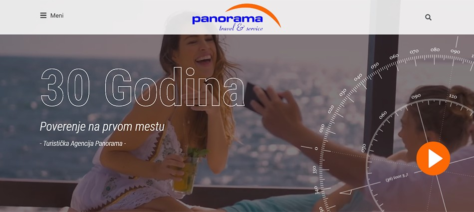 Agencija za digitalni marketing Bluelinemedia - Naslovna stranica sajta Turistička Agencija Panorama