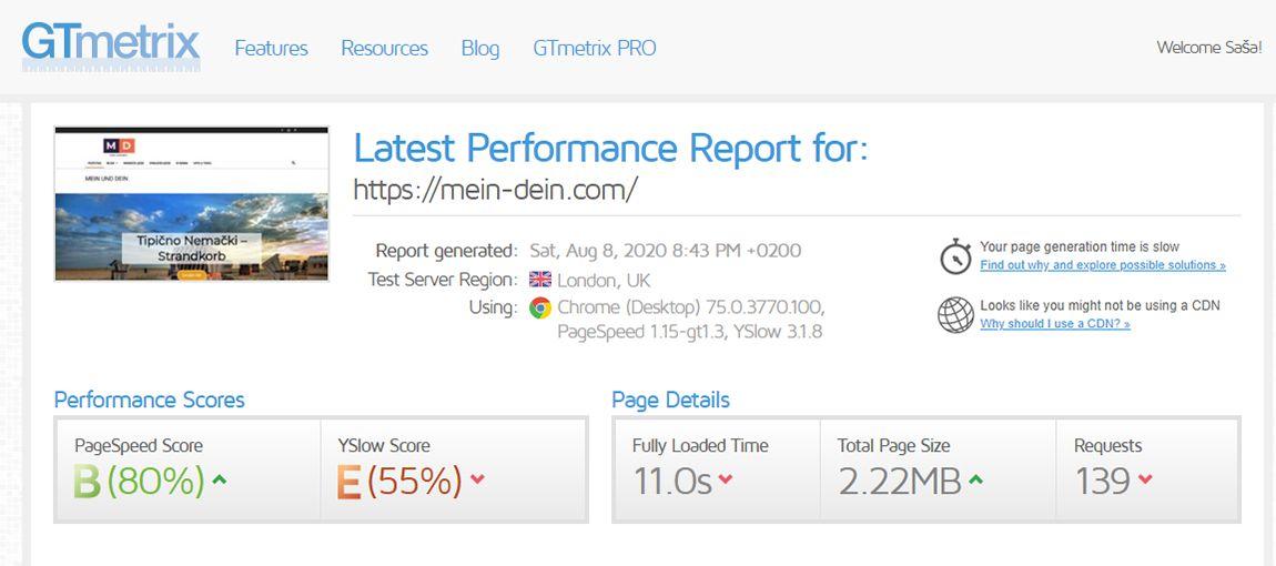 Agencija za digitalni marketing Bluelinemedia - Ubrzanje sajta - GTMertix_bad result