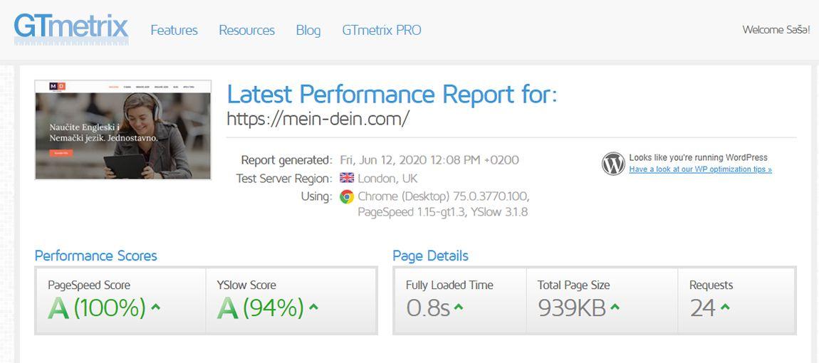 Agencija za digitalni marketing Bluelinemedia - Ubrzanje sajta - GTMertix_good result